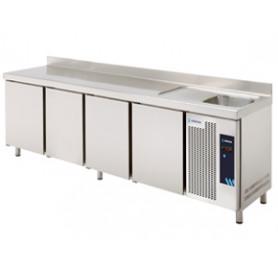 MESA REFRIGERADA CON FREGADERO MPSF-250 EDENOX - MEDIDAS 2542 X 600 X 850 MM. FONDO 600